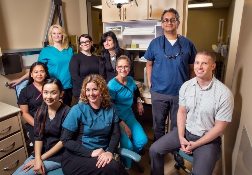 Alma Dental Centre Team Photo | Point Grey Dental Clinic serving the Vancouver Westside communities of UBC, Point Grey, Kitsilano, Dunbar. We are at the corner of West 4th Ave and Alma Street.
